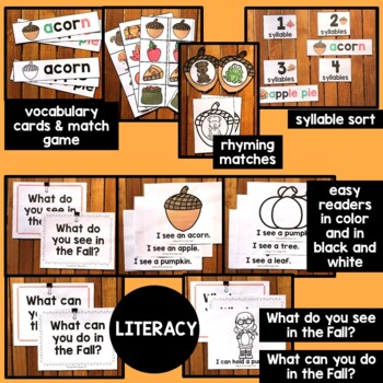 Fall literacy and math centers for Preschool & Special Education