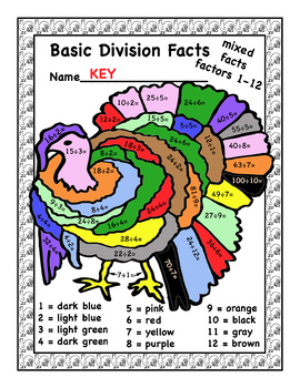 Color by Multiplication and Division Facts - Fall Theme - With Answer Keys