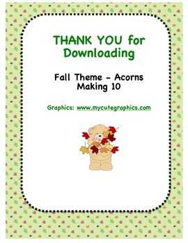 Fall Theme (Acorns) - Can You Make 10?