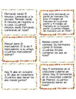 Fall Theme Addition Task Cards - SPANISH
