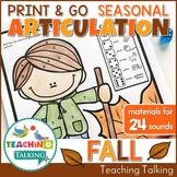 Fall Articulation Worksheets Print & Go