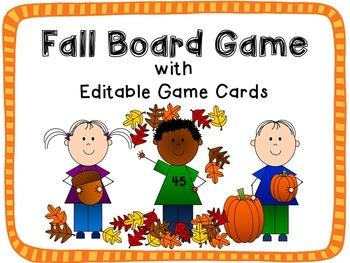 Fall Theme Board Game {Editable!}