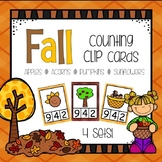 Fall Theme Counting Clip Cards - Apples, Pumpkins, Acorns - Numbers 1 - 10