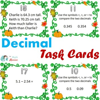 Fall Theme Decimal Task Cards Grades 4, 5, and 6