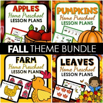 Fall Theme Home Preschool Lesson Plan and Fall Activities BUNDLE