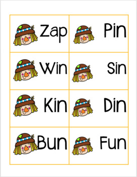 Fall Theme Kindergarten CVC Word Cards