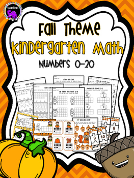 Fall Theme Kindergarten Math Practice Sheets and Centers