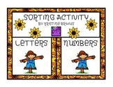 Fall Theme Letter and Number Sort