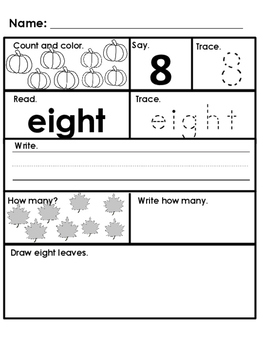 Fall Theme Morning Work; Kindergarten; Special Education; Autism; Numbers; Math