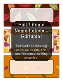 Fall Theme Name Labels - Editable!