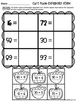 Fall Theme Place Value Practice Activities