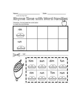 Fall Theme Rhyme with Word Families