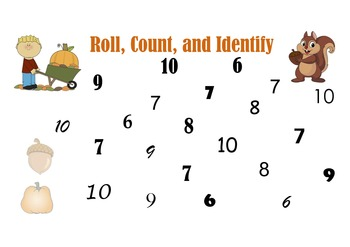 Fall Theme: Roll, Count, and Identify Numbers 6-10