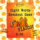Fall Theme Sight Words Breakout Game, Puzzle, Escape Game