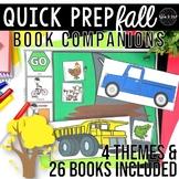Fall Theme Speech Therapy Book Companions: Quick Prep Seasonal Books