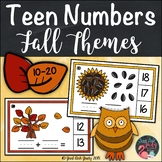 Fall Theme Teen Number Clip Cards 10 to 20