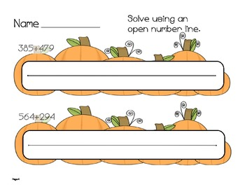 Fall Themed 3-digit addition with number sentences and open number lines