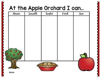 Fall Themed 5 Senses Graphic Organizers