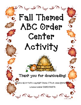 Fall Themed ABC Order Center Activity