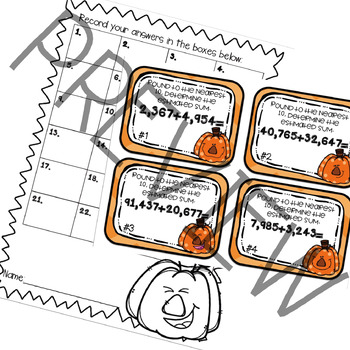 Fall Themed Addition Rounding Task Cards