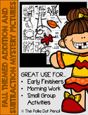 Fall Themed Addition + Subtraction Mystery Pictures