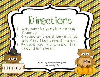 Fall Themed Addition and Subtraction Center