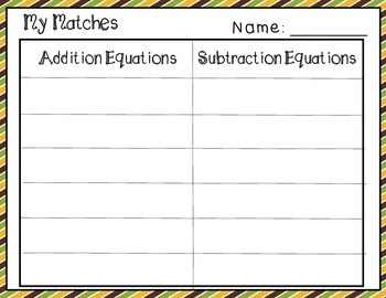 Fall Themed Addition and Subtraction Matching Center