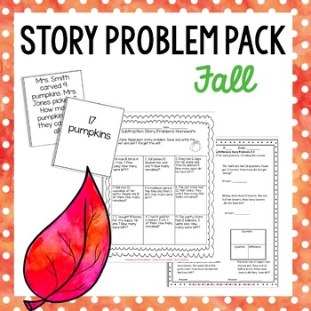 Fall Themed Addition and Subtraction Number Stories Set {C