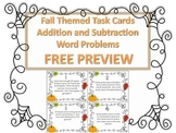 Fall Themed Addition and Subtraction Word Problem Task Cards Free PREVIEW