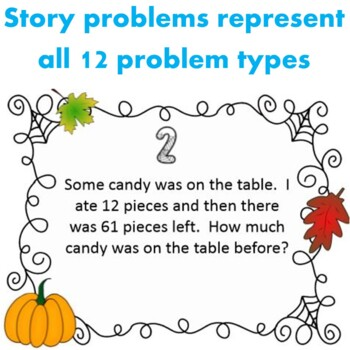 Fall Themed Addition and Subtraction Word Problem Task Cards Grade 2 and 3