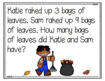 Fall Themed Addition and Subtraction Word Problems First Grade