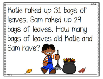 Fall Themed Addition and Subtraction Word Problems Second Grade