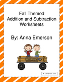Fall Themed Addition and Subtraction Worksheets