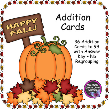 Fall Themed Addition to 99 Cards - No Regrouping