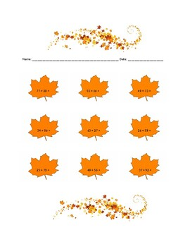 Fall Themed Addition with Regrouping