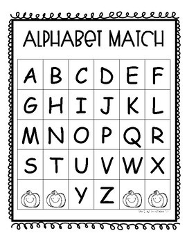 Fall Themed Alphabet Match for Pre-K and Kindergarten