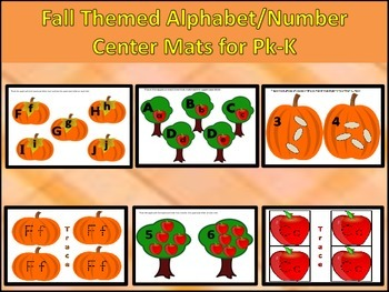 Fall Themed Alphabet/Numbers Center Mats/Wipe Off Cards
