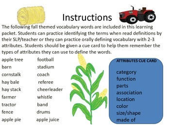 Fall Themed Attributes & Academic Vocabulary:Identification & Oral Definitions