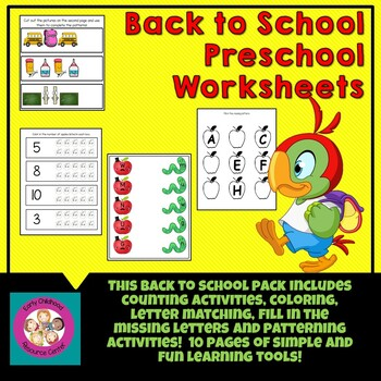 Fall Themed Back to School Preschool Pack