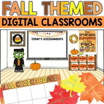 Fall Themed Bitmoji Classroom Virtual Halloween Classroom Decor
