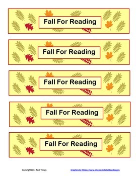 Fall Themed Reading Records and Bookmarks