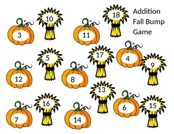 Fall Themed Bump Addition Game