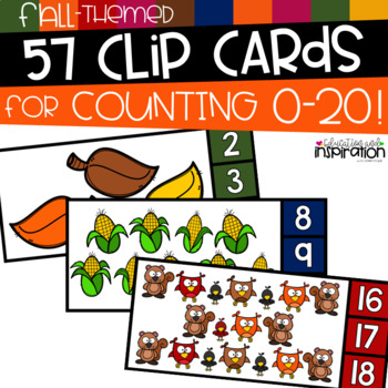 Fall-Themed Clip Cards for Counting 0-20 by Education and Inspiration
