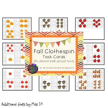 Fall Themed Clothespin Task Cards