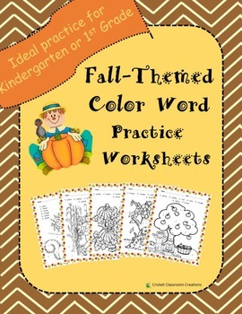 Fall Themed Color Word Color by Number