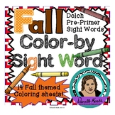 Fall Themed Color-by-Sight Word Coloring Pages 1 - Dolch Pre-Primer Sight Words