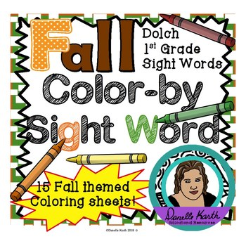 Fall Themed Color-by-Sight Word Coloring Pages 3 - Dolch 1st Grade Sight Words