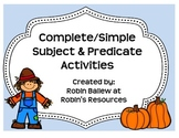 Complete and Simple Subject and Predicate Activities Fall theme