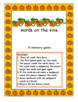 Fall Themed Compound Words Mini-Unit