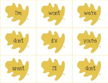 Fall Themed Contractions Matching Cards